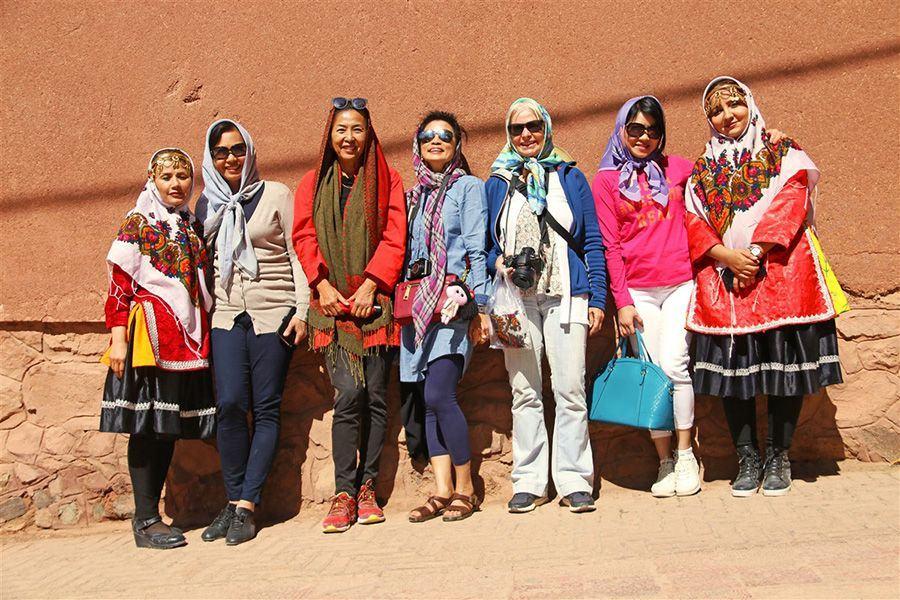 Female travelers visiting Abyaneh Village