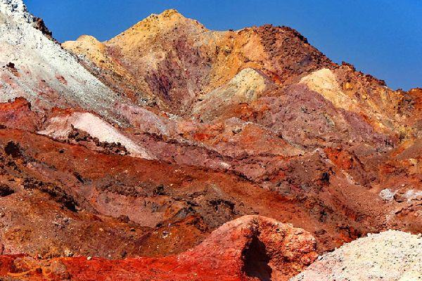 Rock and soil in the Rainbow Valley of Hormuz Island