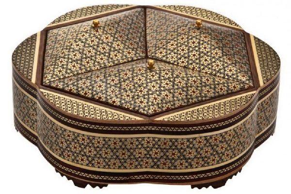 a Khatam kari jewel box. Iranian handicrafts