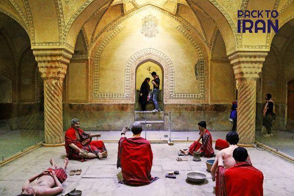 statues of people taking bath in Vakil bathhouse. Shiraz,Iran