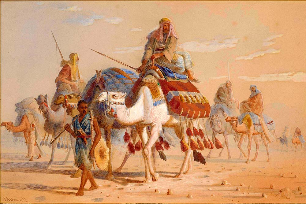 Painting of a caravan on the Silk Road