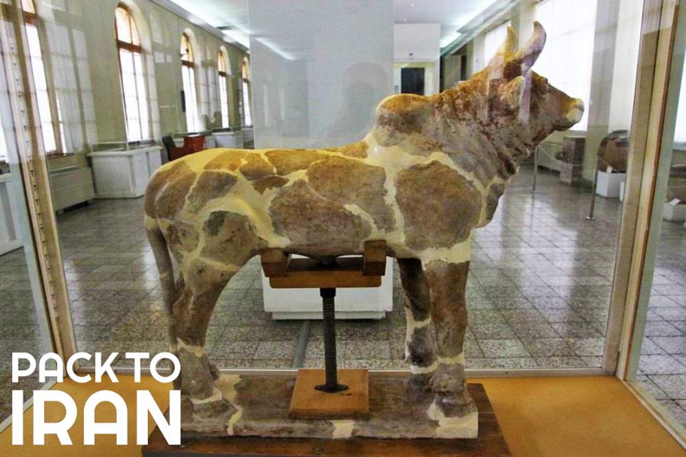 The bull statue of Chogha Zanbil Ziggurat - Iran National Museum