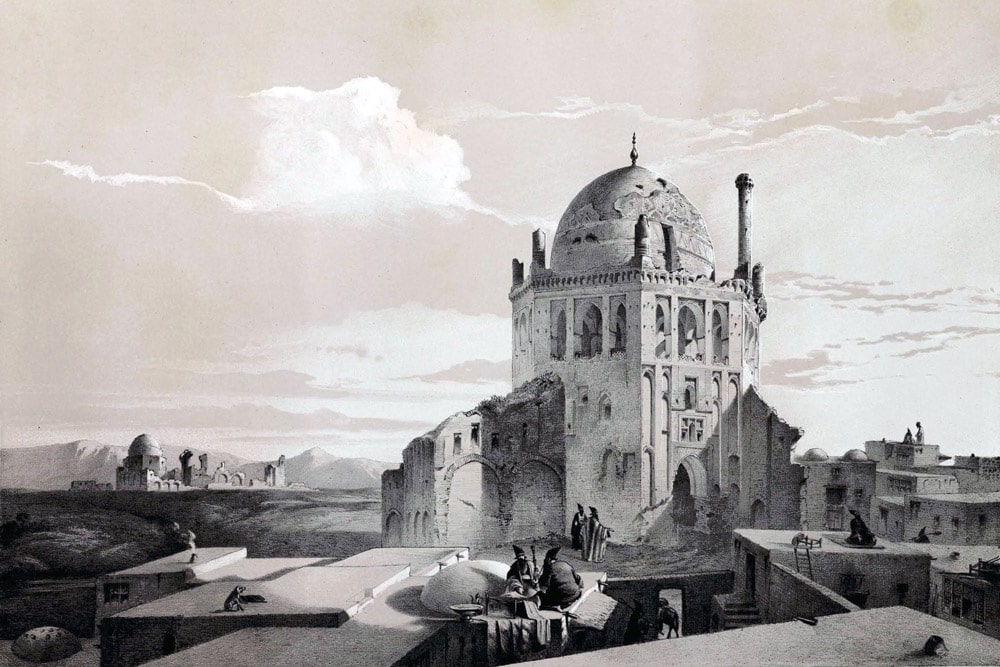 A historical painting of Soltaniyeh Dome