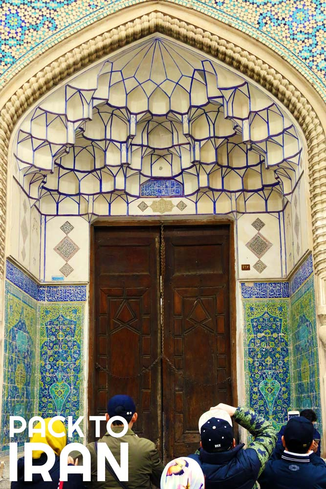 Muqarnas and tilework decoration in Jaame Mosque of Isfahan